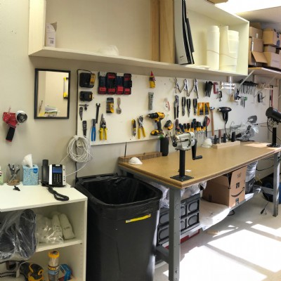 The tech room at Boston O&P of St. Louis is ready to fabricate pediatric orthotics and prosthetics.